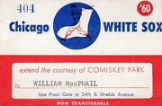 1960 Pass Ticket Mickey Mantle 3 Hr At White Sox /ll40 Hr New York Yankees Ex
