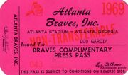 1969 Pass Ticket 1969 Atlanta Braves Hank Aaron Hr 519/44 Hr Yr/21 At Braves
