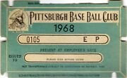 1968 Pass Ticket Pittsburgh Pirates Roberto Clemente 6 Hr Forbes Field/18 Yr/