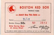 1967 Tony Conigliaro Hit By Pitch Aug. 18 Ticket Pass Boston Red Sox Champs Mt