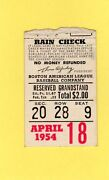 Harry Agganis Ticket Pass First Hr 1954 Boston Red Sox Fenway Park April 18 Ex