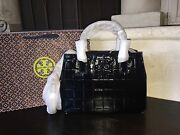 Marion Quilted Patent Leather Tote Black Nwt And Gift Bag 525-32159786