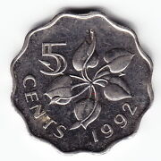 Swaziland 5 Cents 1992 Km40.2 Ni/steel Magnetic 1-yr Type High Grade - Very Rare