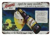 Hamm's Beer Aged For Many Moons Bar Tin Metal Sign Antique Wall Signs