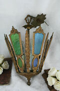 Antique Rare French Stained Cleared Glass Chandelier Multi Colour Lantern Lamp