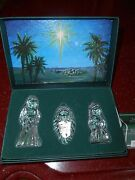 Marquis Waterford Crystal 3pc The Nativity Holy Family In Box Germany Christmas