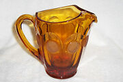 Fostoria Glass Amber Frosted Coin Glass Pitcher 32 Oz. W/ Ice Lip 1950-1960's