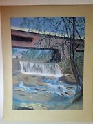 D. Minch Rare Vintage Original Chalk Drawing Rolling Weir And Covered Bridge