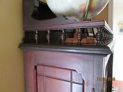 Eastlake 1870's Walnut Book Case With Glass Double Doors - Victorian