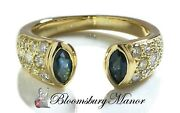 Vintage 90s French Sapphire Diamond 18k Yellow Gold Pave Open Front Ring Sz M/53