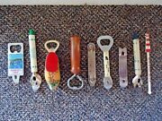 Vintage Mixed Lot Of 8 Bottle Openers And 1 Drink Stirrer Great Collectible
