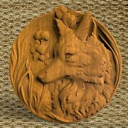 Fox Animals Ornament Wood Carved Plaque Wall Hanging Art Work Home Decor