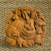 Hares Animals Ornament Wood Carved Plaque Wall Hanging Art Work Home Decor