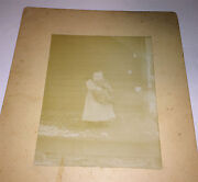 Antique Victorian American Girl Holding Cat Snowy Winter Porch Cabinet Photo