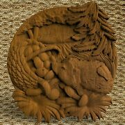 Hedgehog Animals Ornament Wood Carved Plaque Wall Hanging Art Work Home Decor