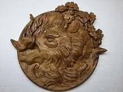 Boar Animals Ornament Wood Carved Plaque Wall Hanging Art Work Hunting Decor