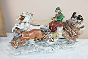 Large German Scheibe Alsbach Marked Porcelain Napoleon In Sled Group Figurine