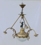Gorgeous French Vintage Brass Putti Figural Chandelier Pendant Crystal Coupe Vsl