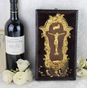 Antique French Napoleon Iii Crucifix Holy Font Framed Glass Religious Relic