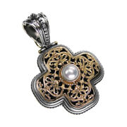Gerochristo 5293n Solid Gold Silver And Pearl Byzantine-medieval Cross Pendant