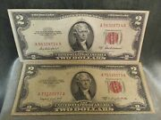 Circulated 1953 A And B Two 2 Dollar Bills United States Notes 2 Bills