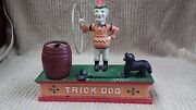 Vintage Cast Iron Trick Dog Mechanical Bank Good Condition Works Great Ship Free