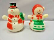 Vintage Mr And Mrs Snowman Salt And Pepper Shakers Christmas Hong Kong 3 Tall