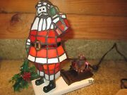 10 Tall Santa Claus W/ Sleigh Style Stained Glass Accent Lamp