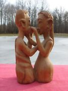 Very Old Hand Carved Wooden Fertility Idol Statue Sensuous Loving Man And Woman