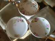 3 Pcs Hand Painted Nippon Bowl W Raised Gold Shallow Bowl And Footed Ikebana