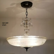 555b Vintage Antique 40and039s Ceiling Lamp Fixture Glass Shade Chandelier 3 Lights