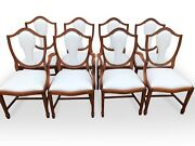 Beautiful Set Lilly White Leather Mahogany Dining Chairs Pro French Polished