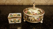 Two Capodimonte Italy Pieces One Courting Couple Lidded Candy Dish And One Che