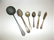 Small Lot Well Worn Vintage Table And Kitchenware 6 Pieces Utensils Pre Owned