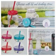 Crofton Mason Jars Or Bottles With Lids And Straws Assorted Colors
