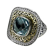Gerochristo 2716 Solid Gold Sterling Silver And Topaz Medieval Cocktail Ring