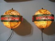 New Vtg Pair 1977 Special Export Beer Old Style World Motion Sign Bar Light A+