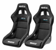 Pair Sparco Qrt-r Racing Bucket Seat - Black Fabric - Fia Approved