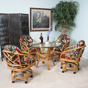 Made In Usa Rattan Dining Room Swivel Caster Chair And Table 5 Piece Set