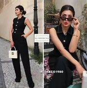 Zara Black Sleeveless Jumpsuit Overall W Contrasting Topstitching And Buttons S