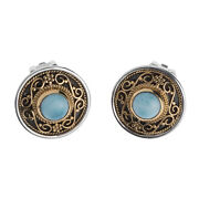 Savati 22k Solid Gold And Sterling Silver Byzantine Round Clip Earrings