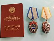 Lot Of 2 Russian Soviet Orders Red Banner And Order Badge Of Honor W/twigs.leaf