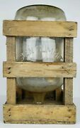 Antique Glen Summit Glass 5 Gallon Water Jug Carboy In Old Dirty Wooden Crate