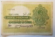 Government Of Cyprus Five Pounds Note 22nd January 1943