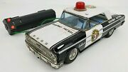 Vtg Asc Japan Ford Galaxie Highway Patrol Tin Litho Battery Op Police Car Toy