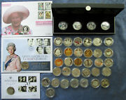 Uk Silver Proof Commemorative Andpound5 Pound Crown Coins .925 Silver Some Piedfort
