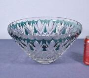 Vintage Lead Crystal Emerald Cut To Clear Bowl Signed Val St. Lambert Vsl