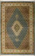 Rugstc 7x10 Senneh Pak Persian Blue Rug Hand-knottedfloral With Silk/wool