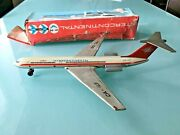 Vintage Il-62 Russian Friction Power Jet Air Plane Tin Toy In Box