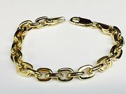 18kt Solid Yellow Gold Handmade Rolo Cable Link Chain Bracelet 7 30 Grams 8mm